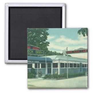 Vintage Restaurant, Retro Rhinebeck Roadside Diner Square Magnet