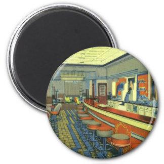 Vintage Restaurant, Retro Roadside Diner Interior 6 Cm Round Magnet