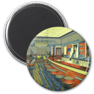 Vintage Restaurant, Retro Roadside Diner Interior Fridge Magnet