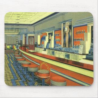 Vintage Restaurant, Retro Roadside Diner Interior Mousepads