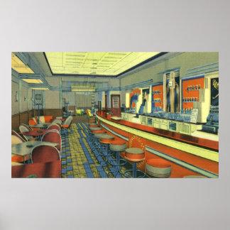 Vintage Restaurant, Retro Roadside Diner Interior Posters