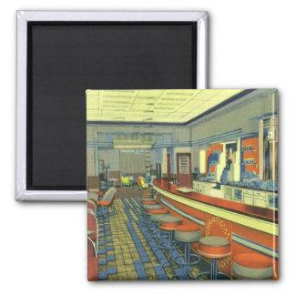 Vintage Restaurant, Retro Roadside Diner Interior Square Magnet