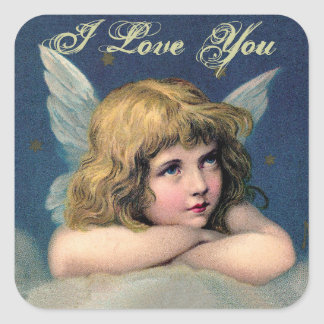 Vintage Resting Angel -I Love You- Square Stickers