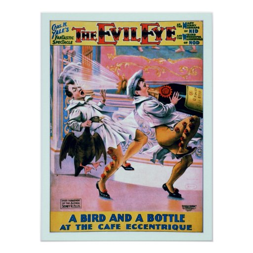 Vintage restored funny The Evil Eye theatre Poster