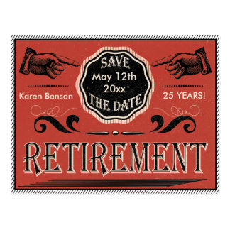 Vintage Retirement Save The Date Postcard
