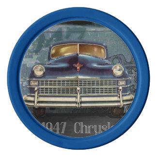 Vintage Retro 1947 Chrysler Car, Clay Poker Chips