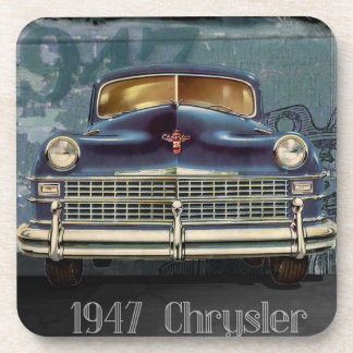 Vintage Retro 1947 Chrysler Car, Plastic Coasters