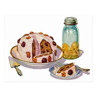 Vintage Retro 20s Baking Cookbook Art Plum Pie Post Card