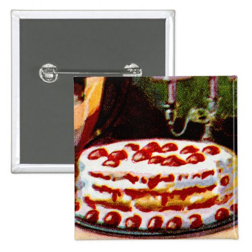Vintage Retro 20s Baking Cookbook Art Shortcake Button