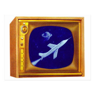 Vintage Retro 50s Color TV Set Kitsch with Rocket Postcard