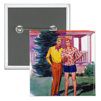 Vintage Retro 50s Gay Men Bob and Rob Buttons
