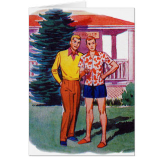 Vintage Retro 50s Gay Men Bob and Rob Card