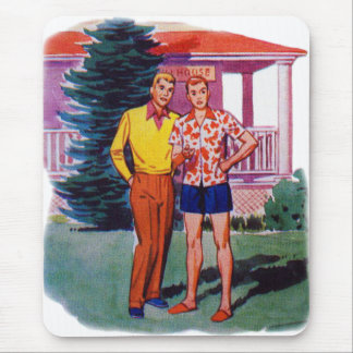 Vintage Retro 50s Gay Men Bob and Rob Mouse Pad