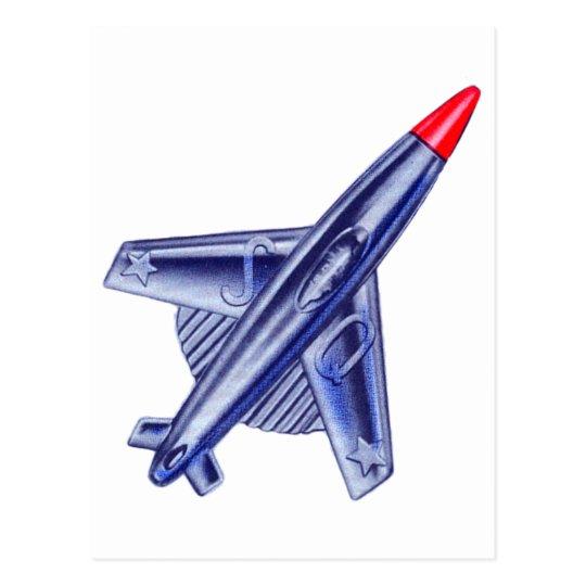 Vintage Retro 50s Jet Aeroplane Rocket Club Pin Postcard