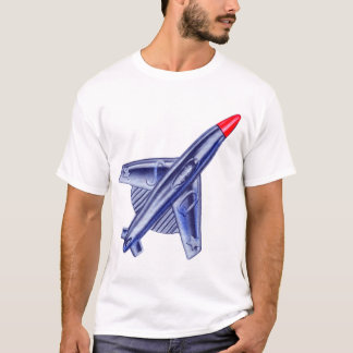 Vintage Retro 50s Jet Airplane Rocket Club Pin T-Shirt