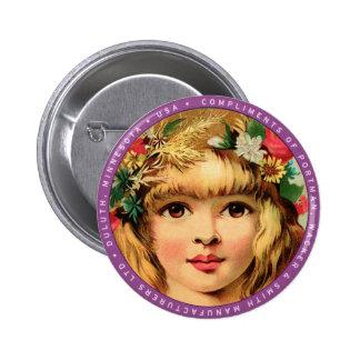 Vintage Retro Advertisment Flower Child Girl Button