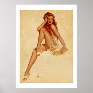 Vintage Retro Alberto Vargas Redhead Pin Up Girl Poster