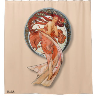 Vintage Retro Art Nouveau Beautiful Dancing Girl Shower Curtain