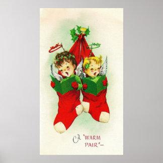 Vintage retro babies singing Christmas poster