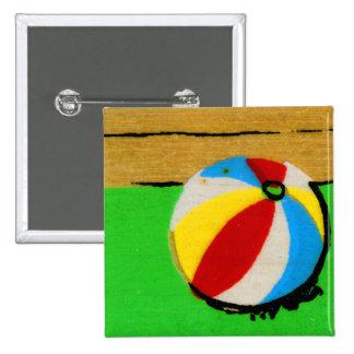 Vintage Retro Beach Ball Kids Art Illustration Pinback Button