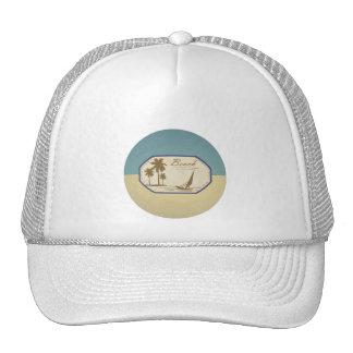 Vintage Retro Beach Palm Tree Boat Blue Sepia Tone Mesh Hat
