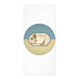 Vintage Retro Beach Palm Tree Boat Blue Sepia Tone Custom Rack Card