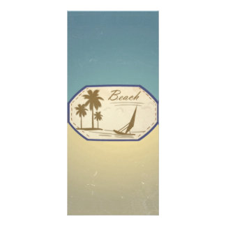 Vintage Retro Beach Palm Tree Boat Blue Sepia Tone Full Color Rack Card