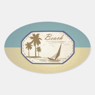 Vintage Retro Beach Palm Tree Boat Blue Sepia Tone Sticker