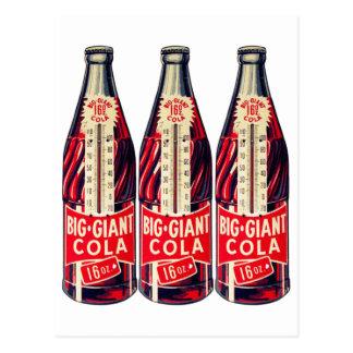 Vintage Retro Big Giant Soda Bottle Thermometer Postcard