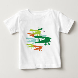 Vintage Retro BiPlane Lonely Sparrow Airplane Desi Baby T-Shirt