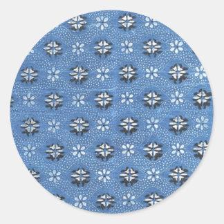 Vintage Retro Blue Floral Pattern Round Sticker
