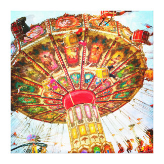 Vintage, retro blue sky carnival swing ride photo canvas print