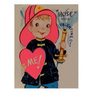 Vintage Retro Boy Fireman Valentine Card Postcard