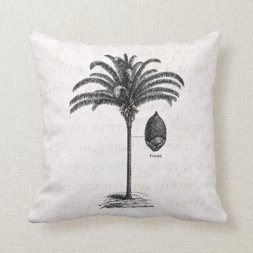 Vintage Retro Brazilian Palm Tree Template Palms Pillow