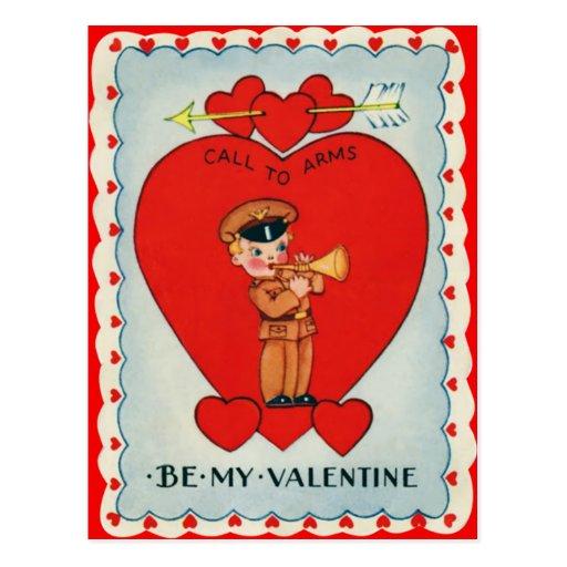 Vintage Retro Bugler Valentine Card Postcards