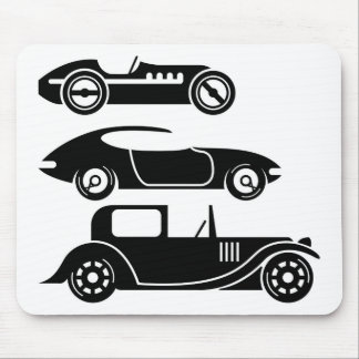 Vintage retro car racing coupe and limo mouse pad