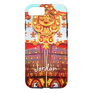 Vintage retro carousel gold face photo custom name iPhone 8/7 case