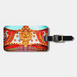 Vintage retro carousel sparkly gold face photo luggage tag