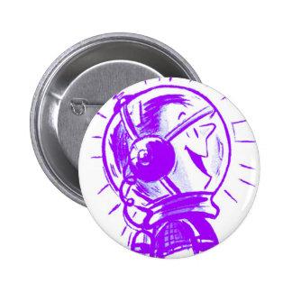 Vintage Retro Cartoon Sci Fi 'Happy Spaceman' Pinback Buttons