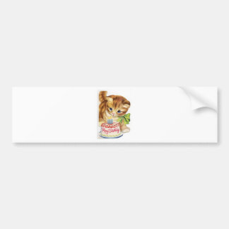 Vintage Retro Cat Kitten Birthday Cake Greeting Bumper Sticker
