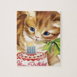 Vintage Retro Cat Kitten Birthday Cake Greeting Jigsaw Puzzle