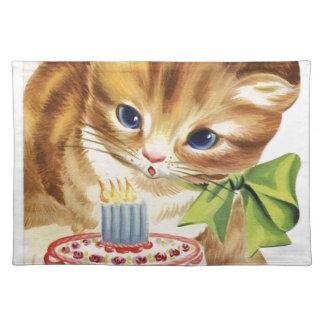Vintage Retro Cat Kitten Birthday Cake Greeting Placemat