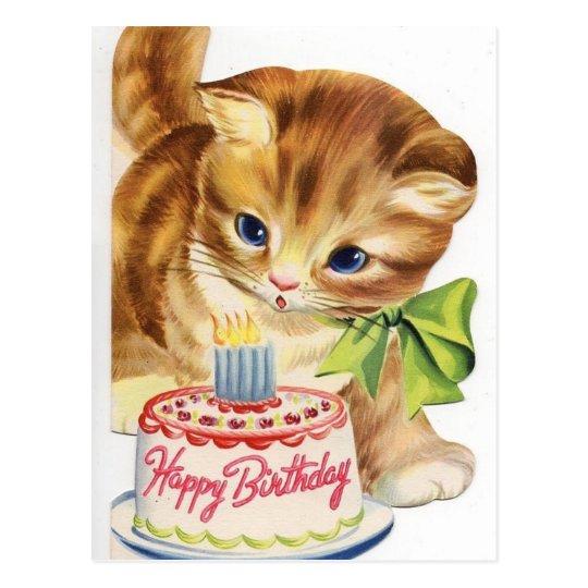Strange Vintage Retro Cat Kitten Birthday Cake Greeting Postcard Zazzle Funny Birthday Cards Online Necthendildamsfinfo