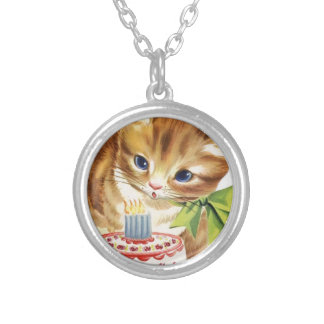 Vintage Retro Cat Kitten Birthday Cake Greeting Silver Plated Necklace