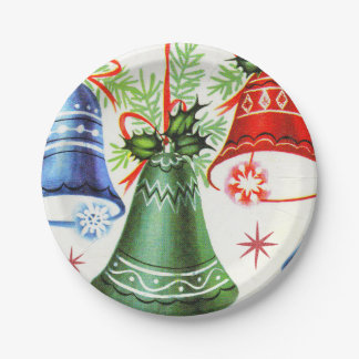 Vintage retro Christmas bells Holiday party plate