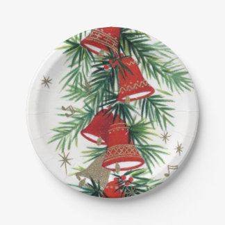 Vintage retro Christmas bells party plate