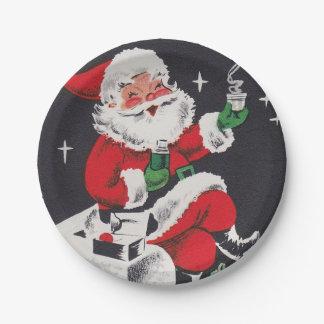 Vintage retro Christmas cocoa Santa party plate