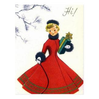 Vintage retro Christmas Holiday woman postcard
