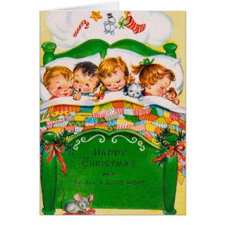 Vintage retro Christmas kids add message card