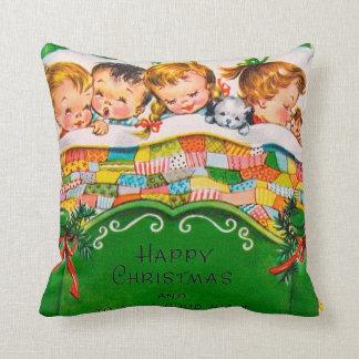 Vintage retro Christmas kids room decor pillow